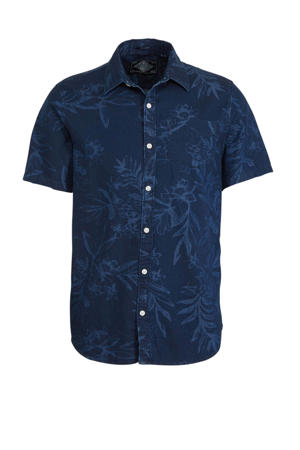 slim fit overhemd met all over print blauw