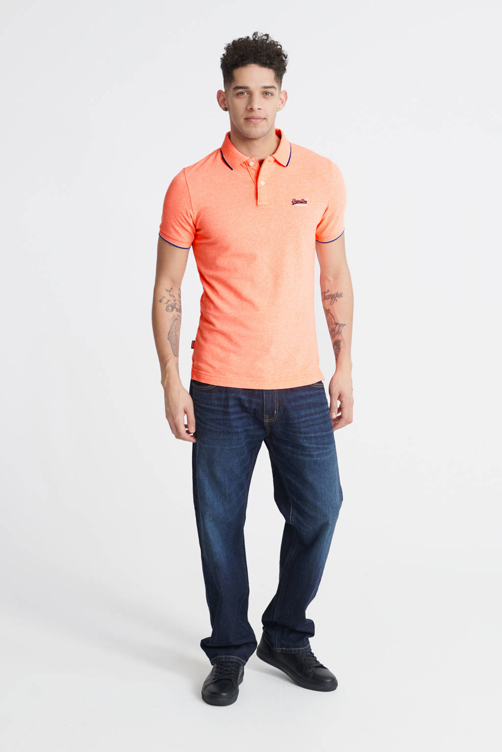 Superdry slim fit polo koraal, Koraal