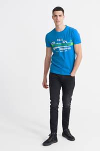 Superdry T-shirt met logo blauw, Blauw