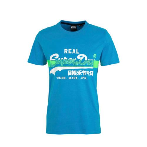 Superdry T-shirt met logo blauw