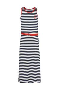 WE Fashion gestreepte maxi jurk donkerblauw/wit/rood, Donkerblauw/wit/rood