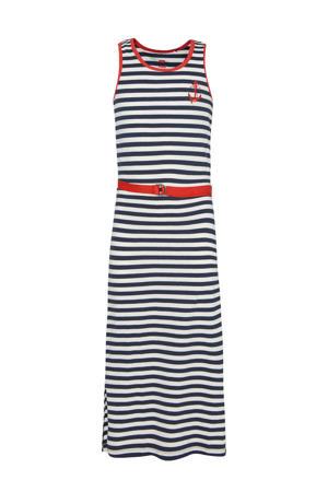 gestreepte maxi jurk donkerblauw/wit/rood