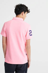 Superdry slim fit polo met logo roze, Roze/donkerblauw