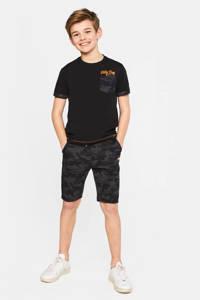 WE Fashion Salty Dog regular fit T-shirt Salty Dog met camouflageprint zwart/oranje/antraciet, Zwart/oranje/antraciet