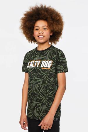 regular fit T-shirt Salty Dog met tekst donkergroen/oranje/wit