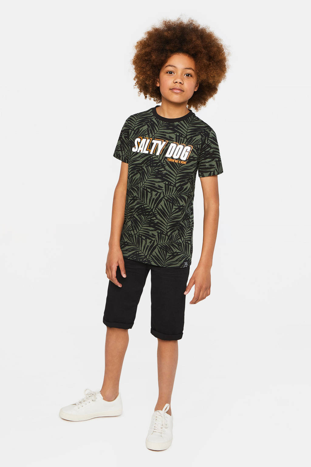 WE Fashion Salty Dog regular fit T-shirt Salty Dog met tekst donkergroen/oranje/wit, Donkergroen/oranje/wit