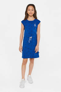 WE Fashion jersey jurk met all over print blauw/donkerblauw/wit, Blauw/donkerblauw/wit