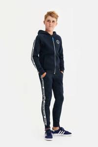 WE Fashion vest met contrastbies donkerblauw/wit, Donkerblauw/wit