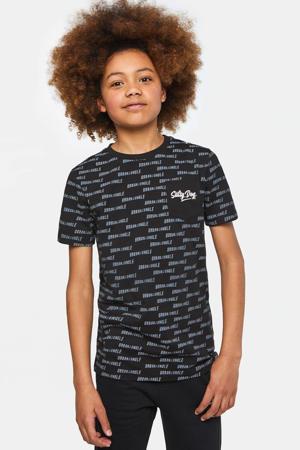 regular fit T-shirt Salty Dog met all over print zwart/wit