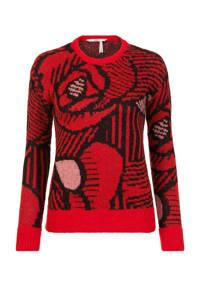 Steps gebreide trui met all over print rood/zwart, Rood/zwart
