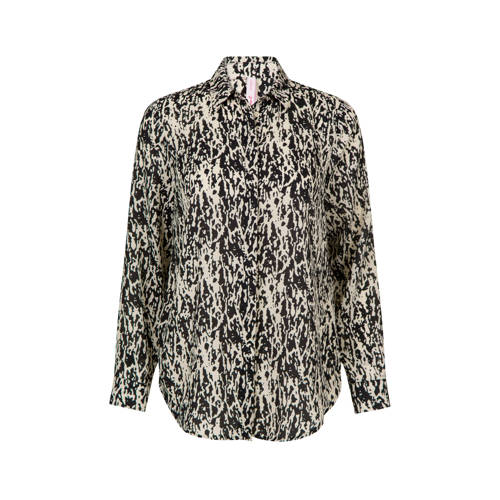 Miss Etam Regulier blouse met all over print zand