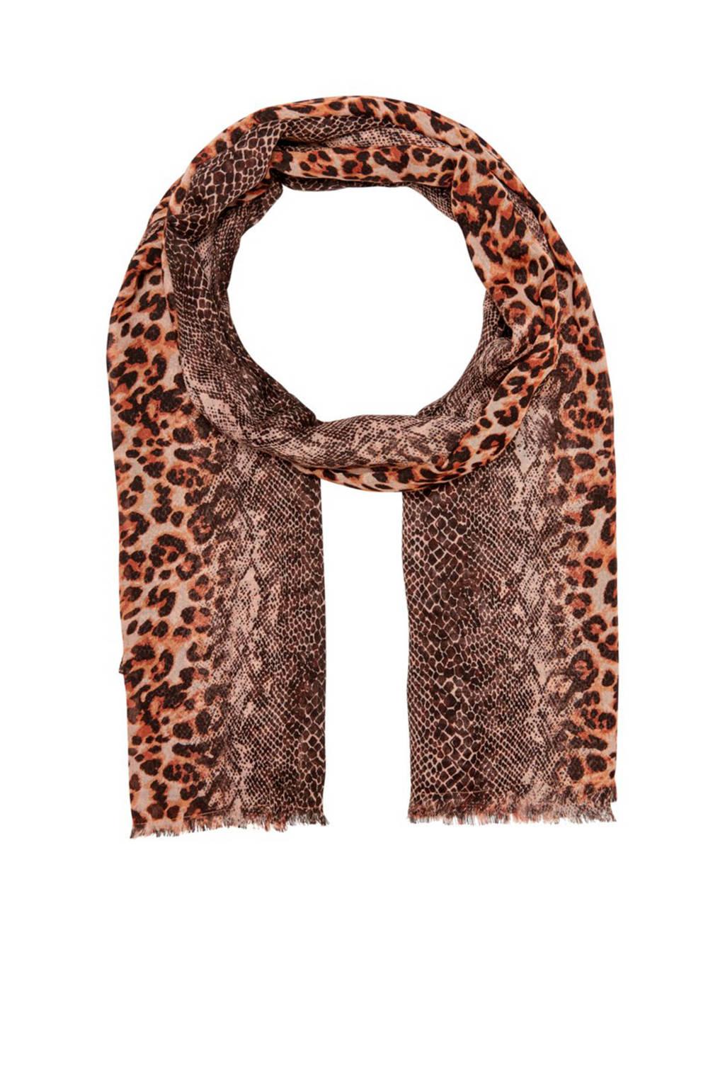 ONLY panterprint sjaal bruin, Bruin