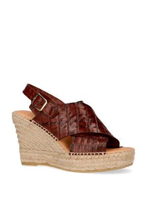 leren sandalettes crocoprint bruin