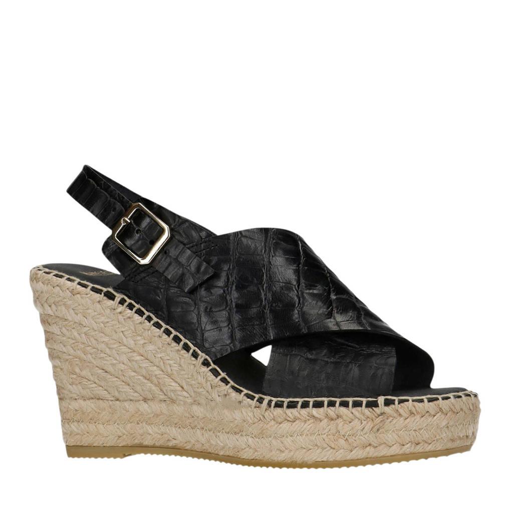 Manfield   leren sandalettes crocoprint zwart, Zwart