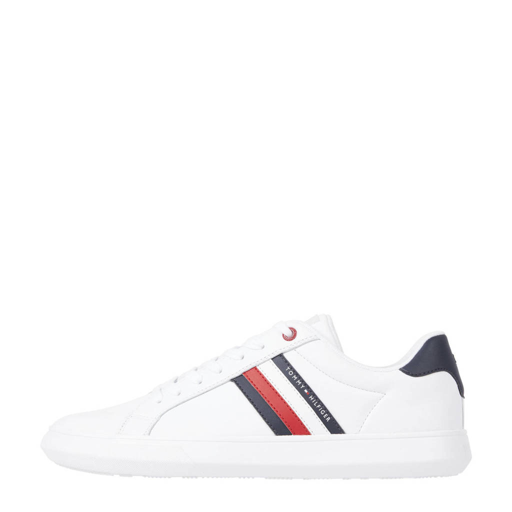 Tommy Hilfiger Essential Leather  sneakers wit, Wit/rood/blauw