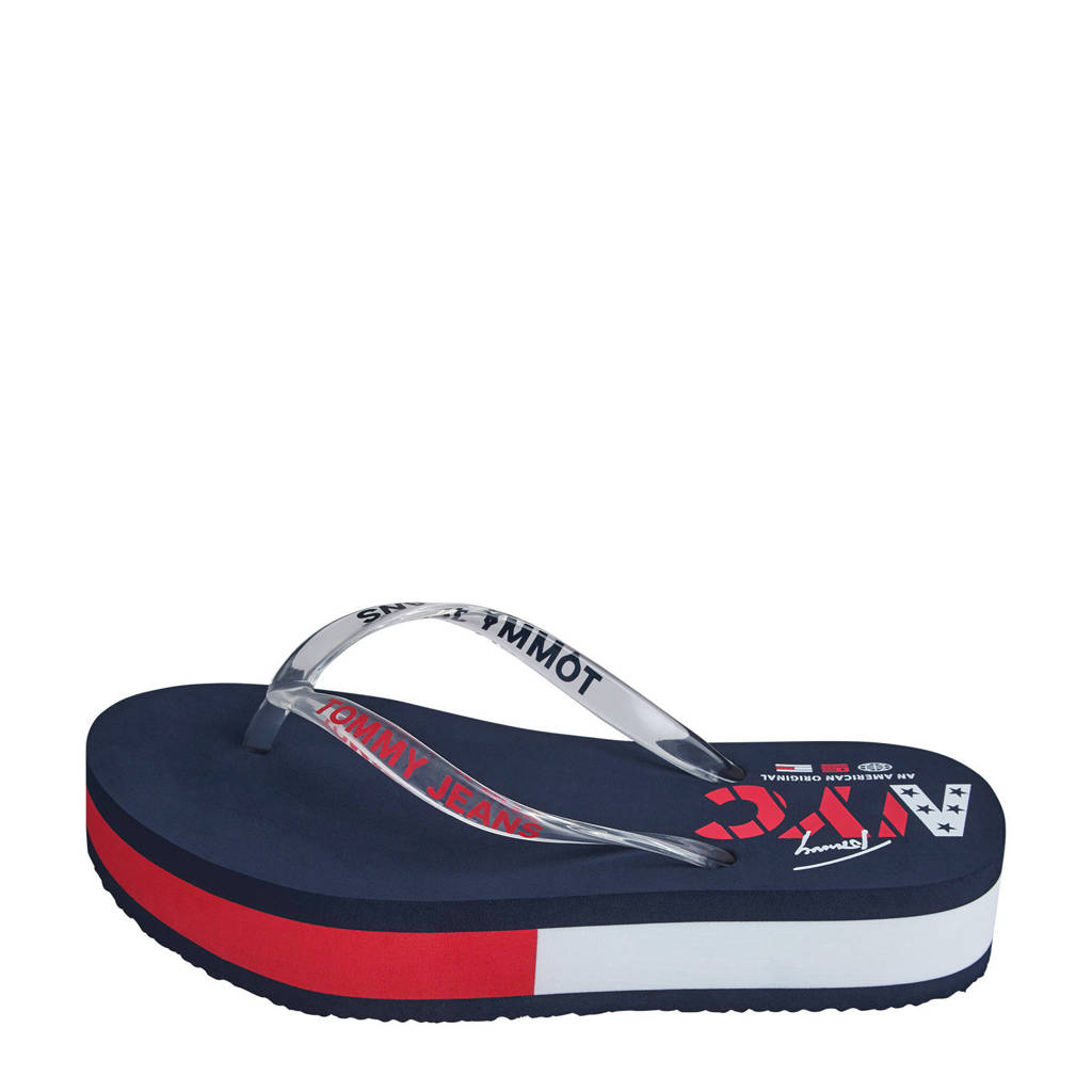 Tommy Jeans Pop Color Mid Beach Sandal  plateau teenslippers donkerblauw, Blauw/wit/rood