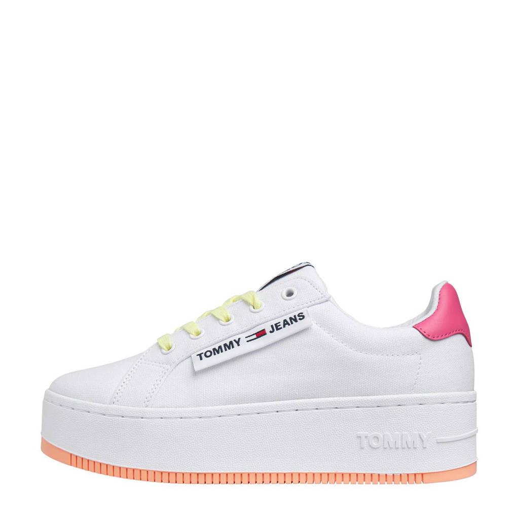 Tommy Jeans Oversized Label Icon Sneaker  plateau sneakers wit/roze, Wit/roze
