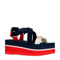 Tommy Jeans Pop Color Flatform Sandal  plateau sandalen blauw/rood, Blauw/rood