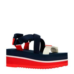 Pop Color Flatform Sandal  plateau sandalen blauw/rood