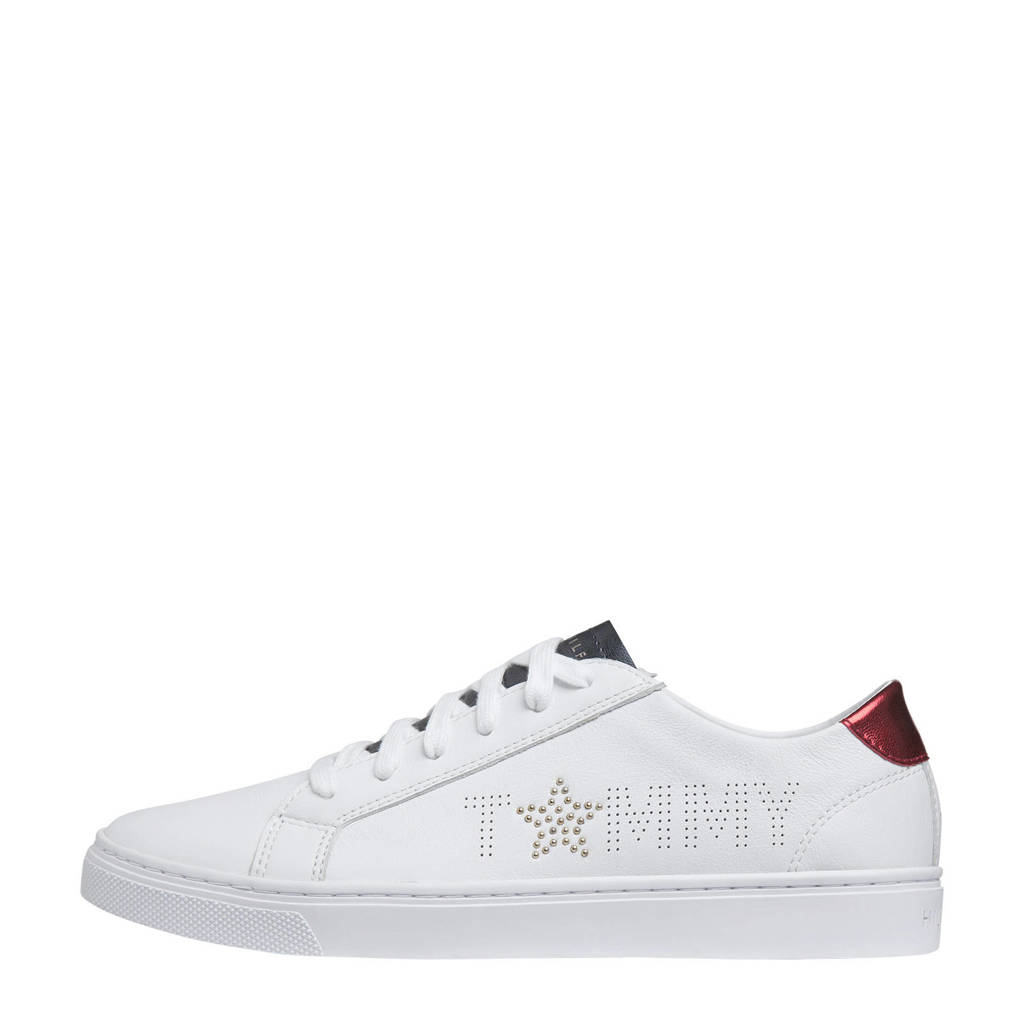 Tommy Hilfiger   leren sneakers wit, Wit/rood/blauw