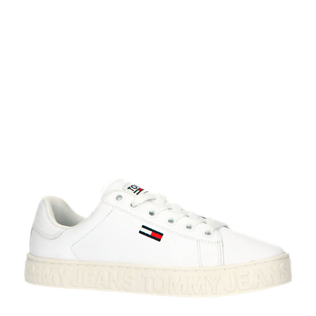 Tommy Jeans   leren sneakers wit, Wit