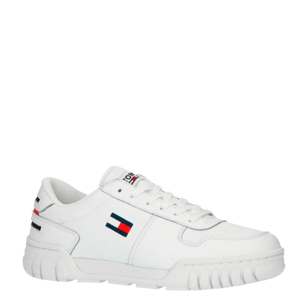 Tommy Jeans Essential Retro  leren sneakers wit, Wit/blauw/rood