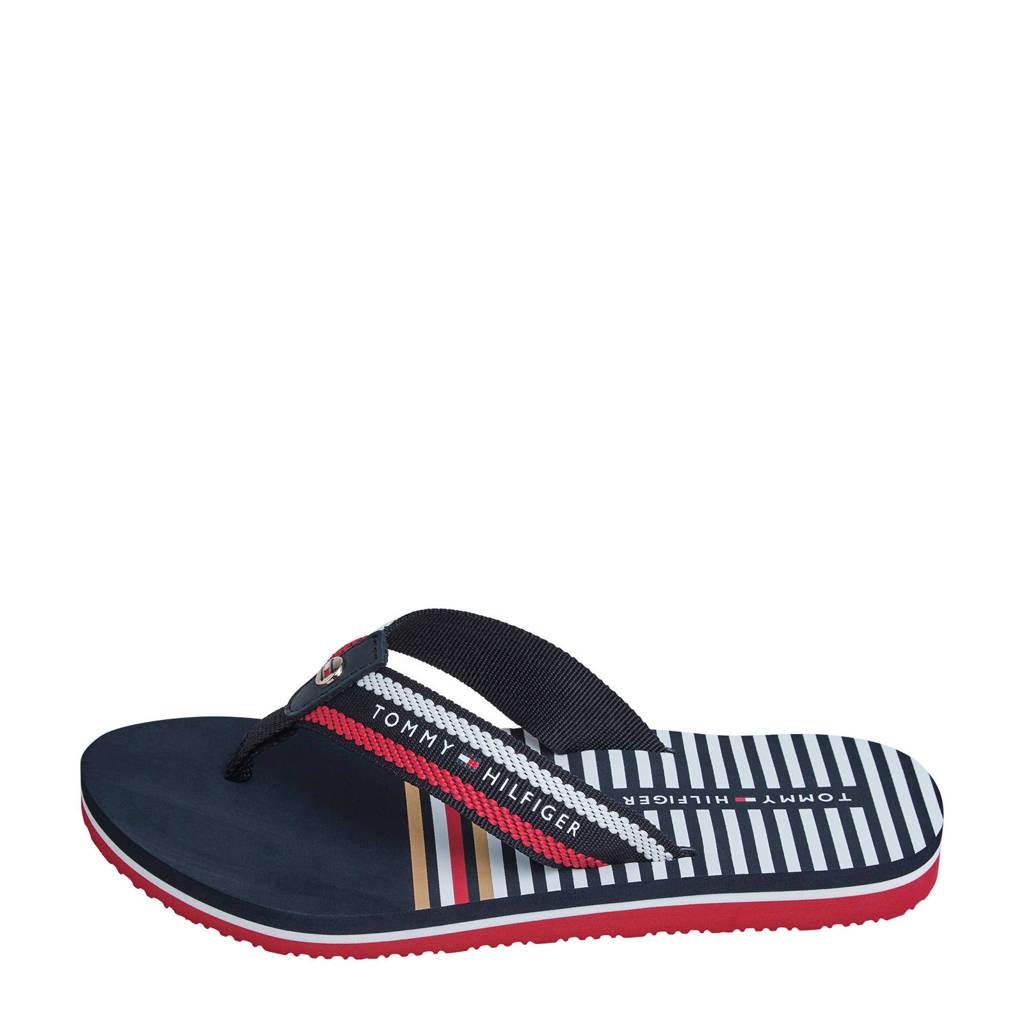 Tommy Hilfiger Stripy Flat Beach Sandal  teenslippers donkerblauw, Blauw/wit/rood