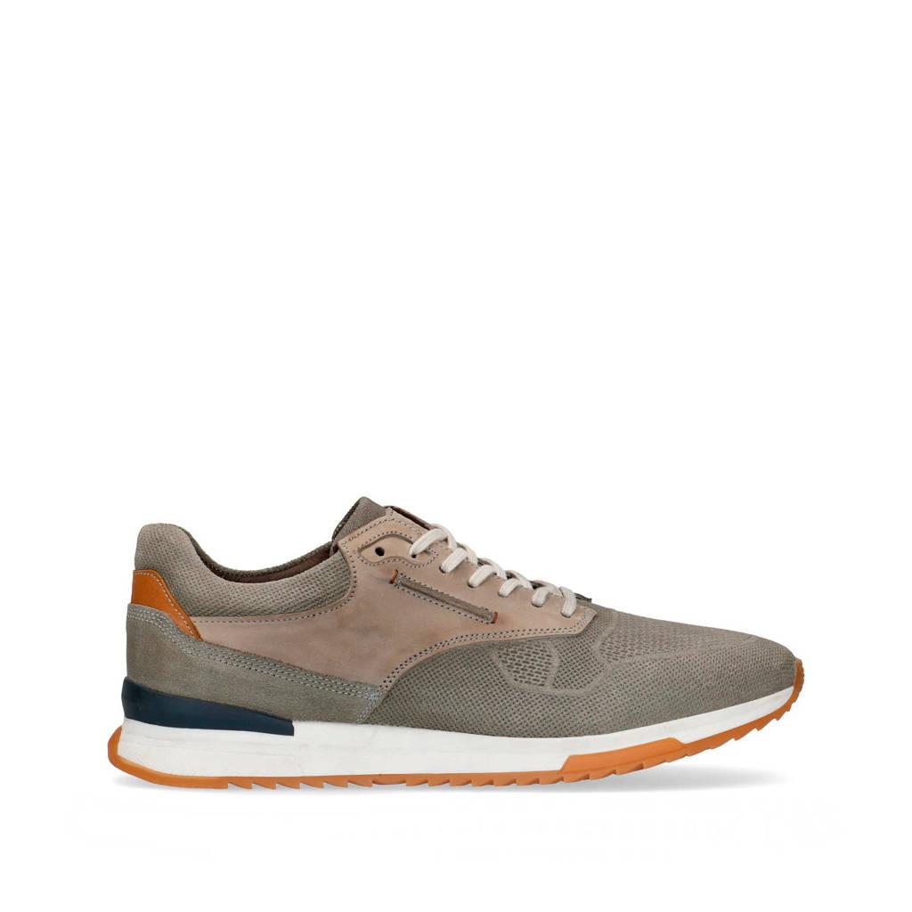 Manfield   suède sneakers grijs, Grijs/beige