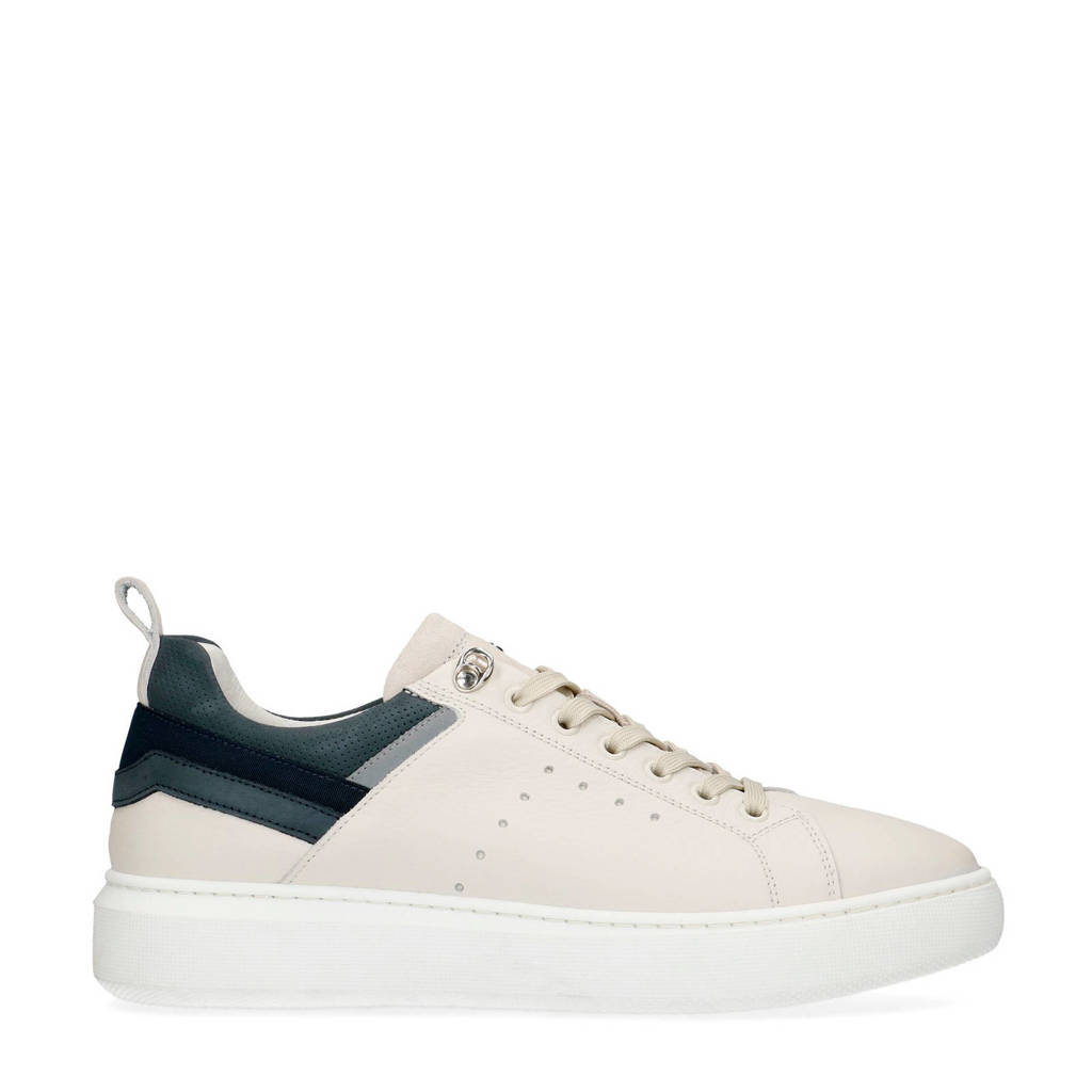 Manfield   leren sneakers off white, off white/multi