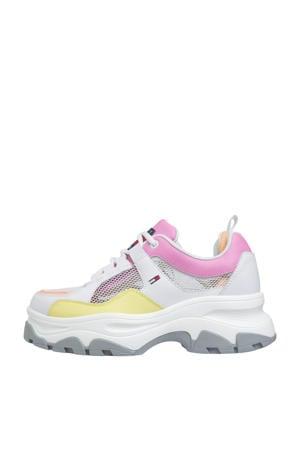 leren chunky platform sneakers wit