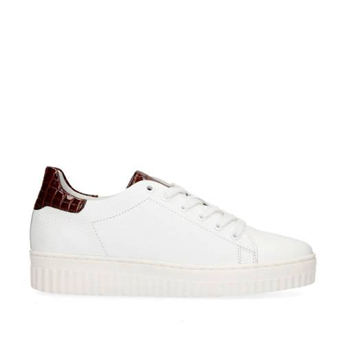 Manfield leren sneakers wit/bruin