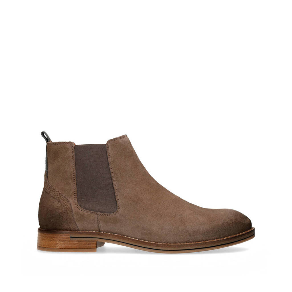 Sacha   suède chelsea boots taupe, Taupe