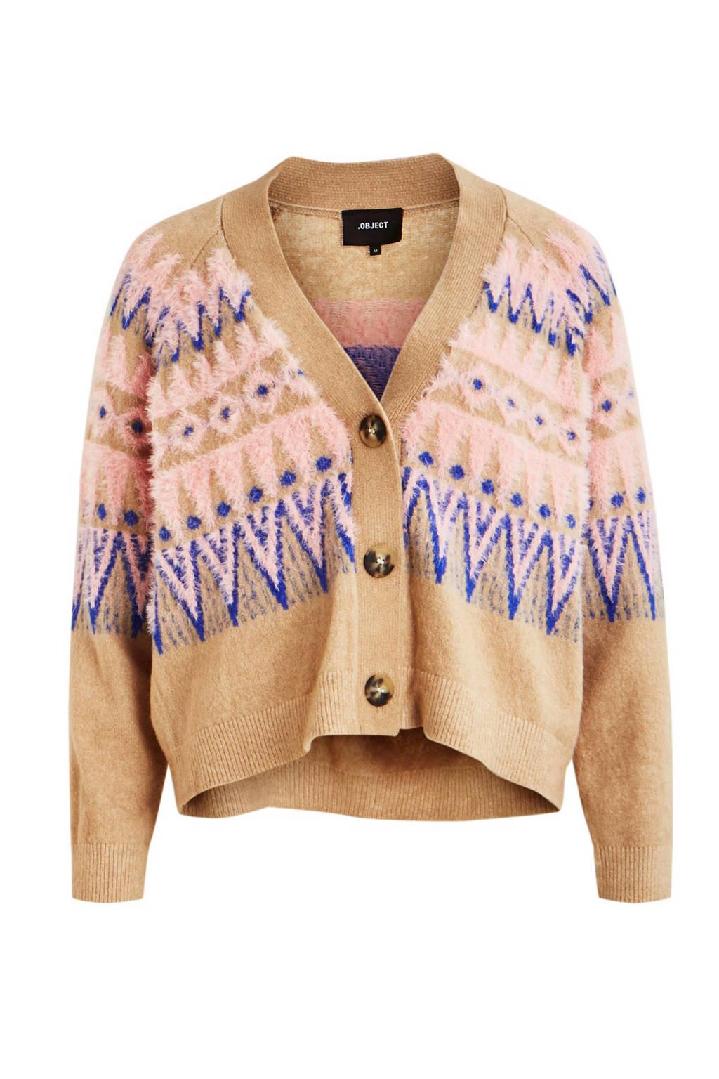 OBJECT gebreid vest met all over print bruin/roze/paars, Bruin/roze/paars