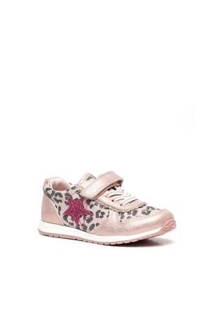 leren sneakers roze/panterprint