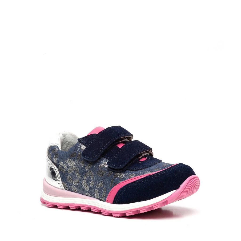 TwoDay   leren sneakers blauw/roze, Blauw/roze