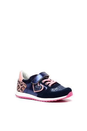 leren sneakers blauw/roze