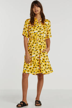 gebloemde blousejurk geel