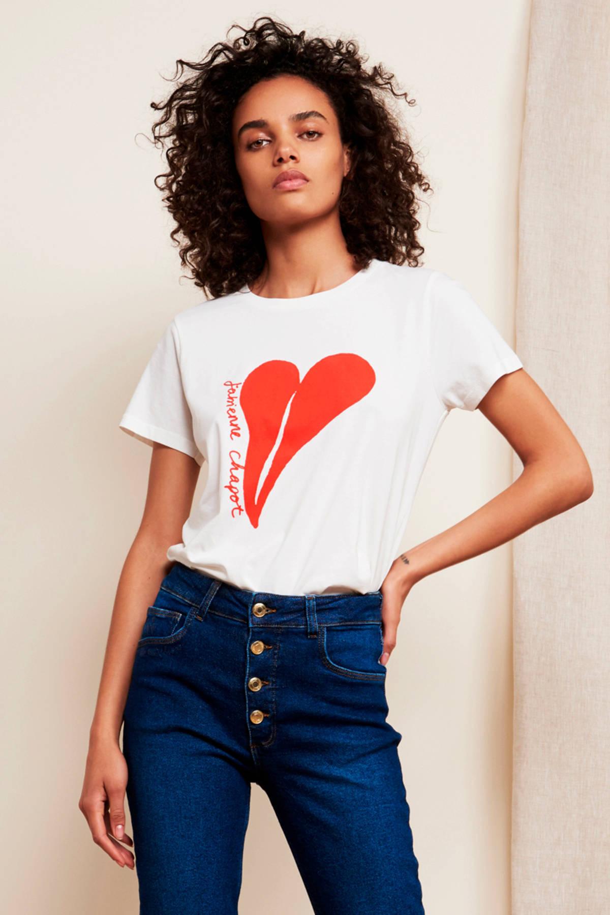 Fabienne Chapot T shirt met printopdruk zwartpaars   wehkamp