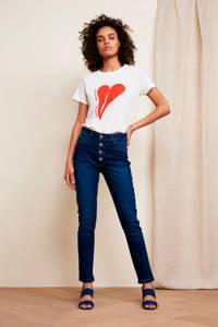 Fabienne Chapot T-shirt Joanne met printopdruk wit/rood, Wit/rood