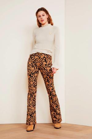 flared broek Eva met panterprint lichtbruin/zwart