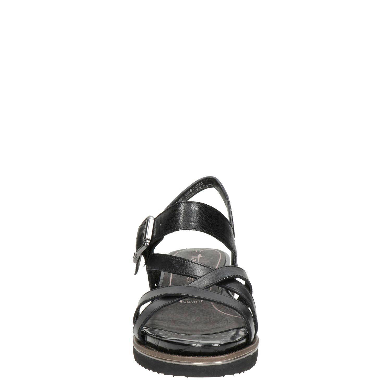 Tamaris leren sandalen zwart | wehkamp