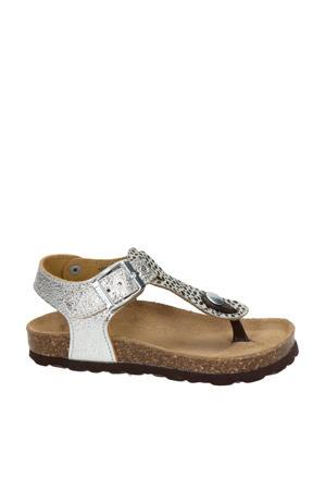 Nulu 3  leren sandalen zilver/panterprint