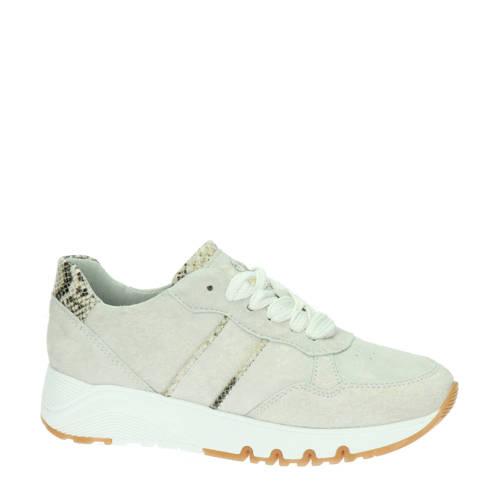 Tamaris su??de sneakers beige/slangenprint
