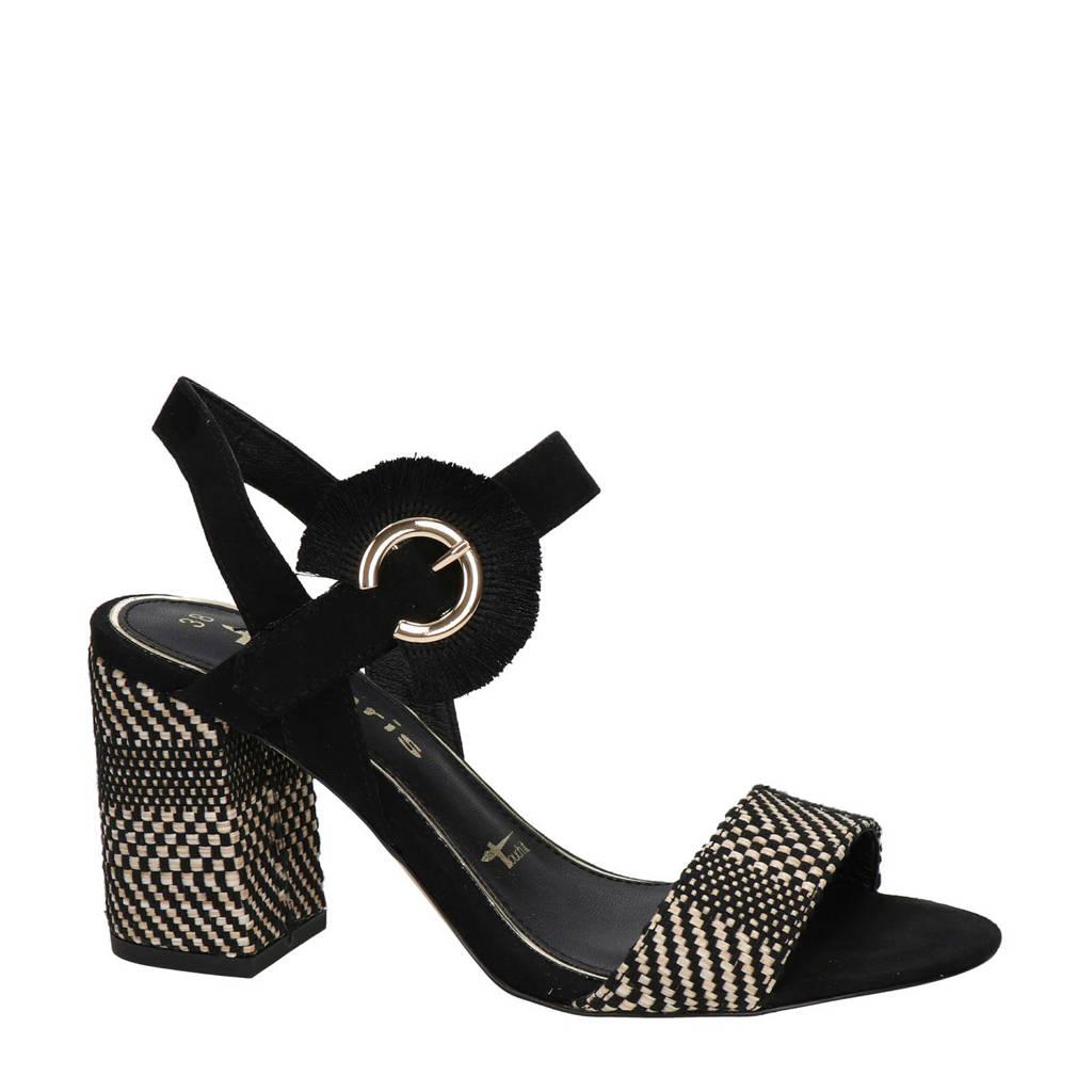 Tamaris   sandalettes zwart, Zwart/beige