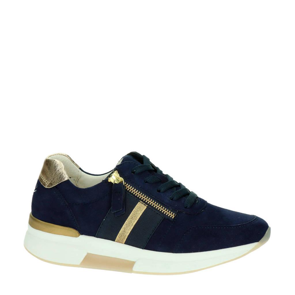 Gabor Rollingsoft comfort suède sneakers donkerblauw/goud, Donkerblauw/goud