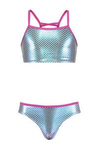 CoolCat Junior crop bikini Yasemin met metallic glans blauw, Metallic blauw