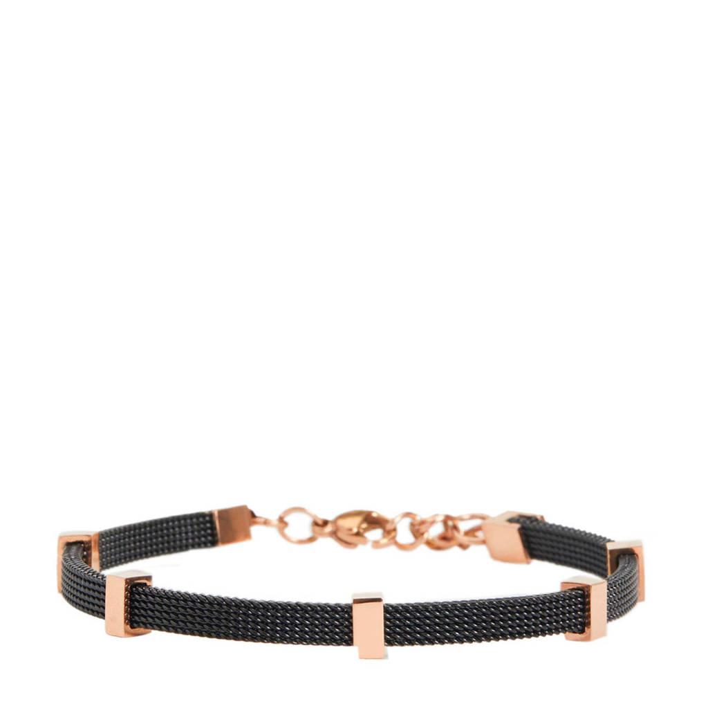 Parfois armband zwart, Rosé