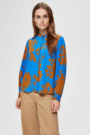 blouse met all over print blauw/camel