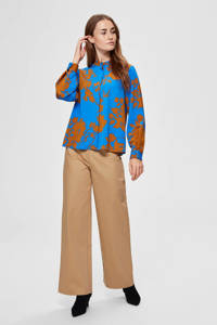 SELECTED FEMME blouse met all over print blauw/camel, Blauw/camel