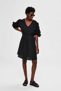 SELECTED FEMME jurk met ruches zwart, Zwart